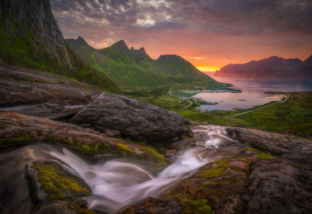 Image Editing Waterfall In Senja Norway